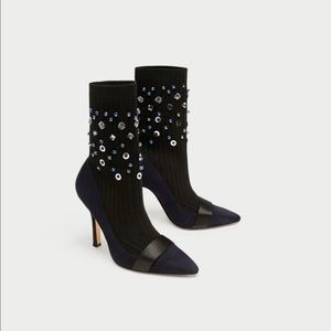Zara Embellished Sock Style Ankle Boots